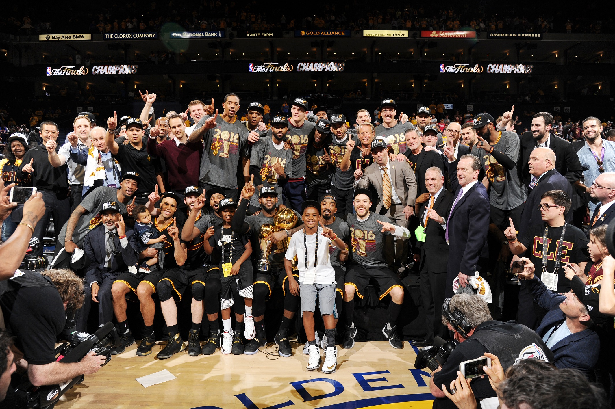 OAKLAND, CA - JUNE 19: The Cleveland Cavaliers celebrate after winning Game Seven of the 2016 NBA Finals against the Golden State Warriors on June 19, 2016 at ORACLE Arena in Oakland, California. NOTE TO USER: User expressly acknowledges and agrees that, by downloading and/or using this Photograph, user is consenting to the terms and conditions of the Getty Images License Agreement. Mandatory Copyright Notice: Copyright 2016 NBAE (Photo by Andrew D. Bernstein/NBAE via Getty Images)